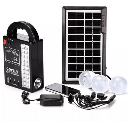 GDPLUS Portable Solar Lighting System, Panel Kit DC 9V INPUT Three Lamps, Mobile Charger, home Charger and Cable GD-999