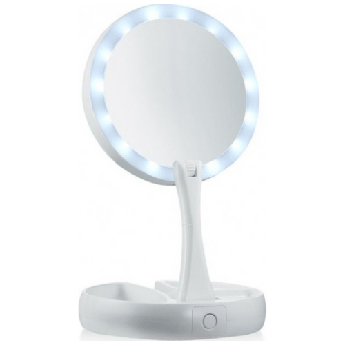 Portable Folding Double Sided Makeup Mirror With LED Light That 1x ,10x Magnifying And With 270°Rotation MY FOLDAWAY 23521-206