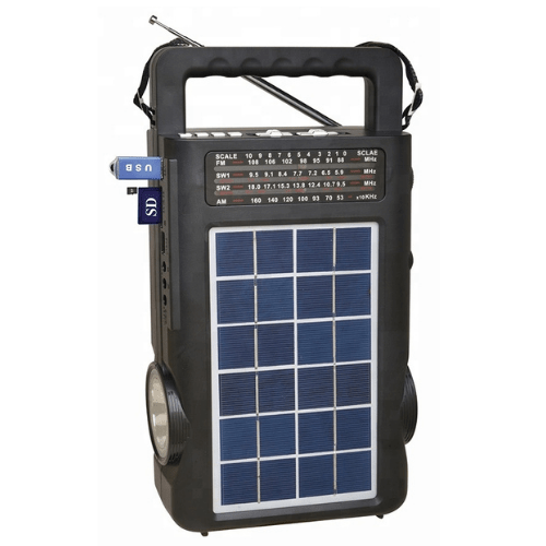 Solar Radio, Music Player With 2 Internal Flashlights and 2 Bulb Lights, Multifunction portable and Rechargeable Solar Powered, AMFMSW radio and speaker with USBSDTF Fepe  FP-1771ULS-BT