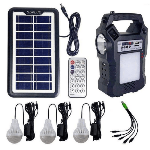 Solar lighting system with 3 lamps, Radio, Mp3, led lens for Camping Rechargeable with Remote Control 13 Hours Working Time GD-8060