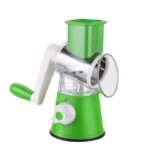3 in 1 Hand-Cranked Rotary Grater Fruit Chopper Vegetable Slicer Cutter Manual Grater Slicer Potato Kitchen Cooking Vegetable Tool Bar Restaurant Tool / Green-HYU3355