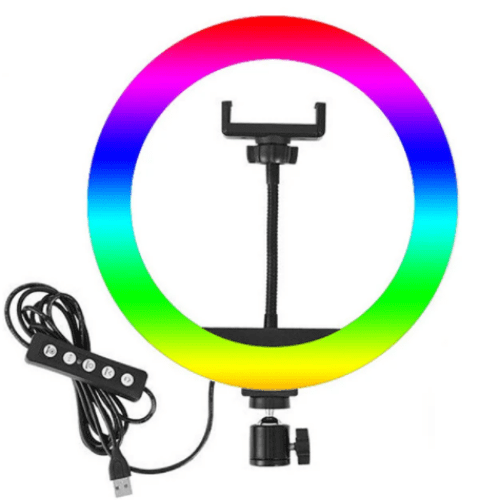 RGB LED Ring Light Dimmable Lighting USB Charger LED Fill Light DC5V Fill Light For Makeup Video Studio Selfie Enhancing for Vlogging Video YouTube Live-MJ22