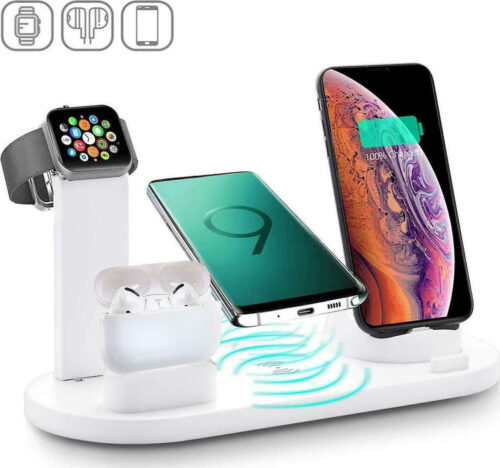 Andowl Wireless Multi-Function Charging Stand Charger Dock 3 in 1 Rotatable Charger Dock for iPhone/Micro USB/Type-C phone Q-L023