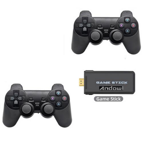 2xWireless Controller Gamepad 2.4G set with 4k Game stick Sony original rocker,3000 Game in 1 High sensitivity Andowl- GS1