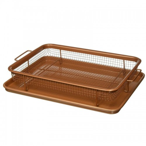 Copper Rectangle Crispy Tray,The Amazing Crisping Fryer That Works In Your Oven - CRISP-01