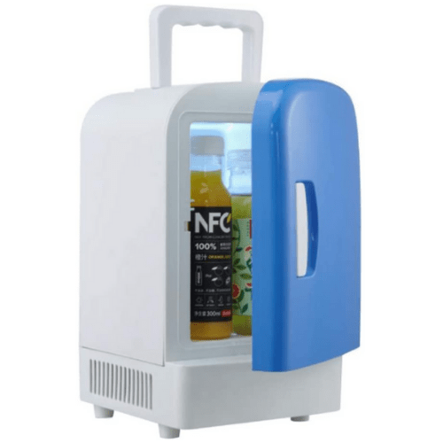 4L Car Refrigerator Portable Heating and Cooling Dual-Use Semiconductor Mini Small Refrigerator, Color Blue And White XSK4L