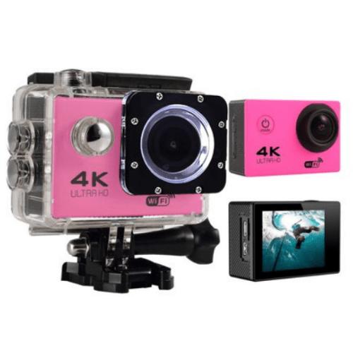 4K Action Camera, Wifi +Wrist RF Sport CAM 16MP Version V3.0, 170D Sports DV 30M Waterproof +10 Accessories F60R - Pink