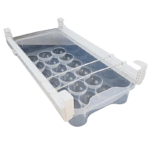Smart Design Refrigerator Adjustable Egg Drawer for Home Organizer Plastic Wall Shelf (Number of Shelves - 18, White)-EU33