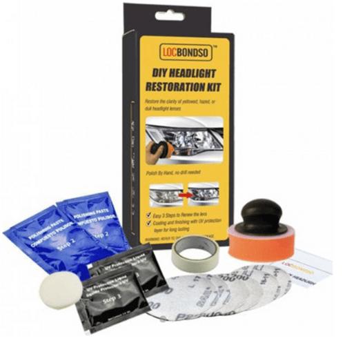 Locbondso Easy 3-Step DIY Headlight Restoration Kit Polish with Instruction Manual BHD0086CR1B