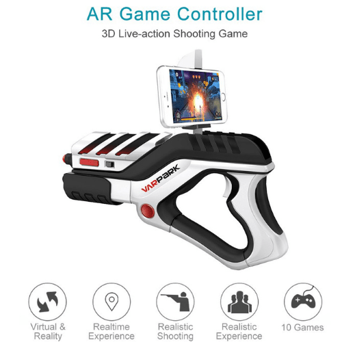AR Game Gun Handle VARPARK-A8 360 Augmented Reality Game Controller Bluetooth 4D Live Action Shooting Game Somatosensory Shooter IOS and Android Smart Phones AR Game Gun for Kids Adults