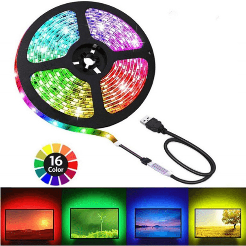 TV LED STRIP 2M 16 Colors Marvel light, 5V USB RGB LED Kitchen Waterproof IP20 Sun Tech Led ST-5050RGB-30D-5M-TV