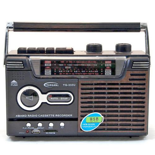 YUEGAN Portable Retro Radio Cassette Player FM AM SW1-2 USB SD (Black Brown) YG-333U