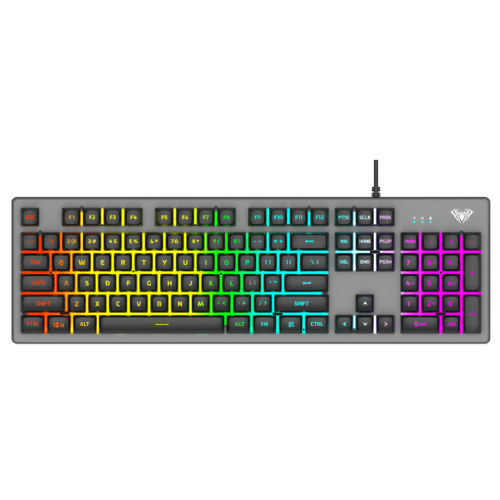 AULA Gaming Keyboard S2056, English Layout, LED, RGB, With Small And Silent Keys And 1.6m Cable, Black/Gray AUL-S2056