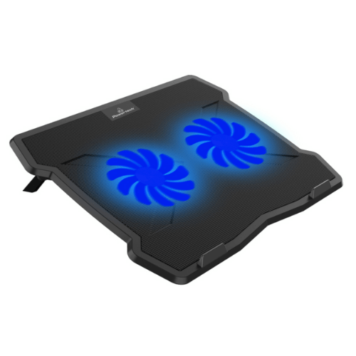 """POWERTECH Cooling Pad With Silent Fan Technology, Up To 15.6"""", Metal Mesh, 2x 125mm Fans, Blue LED, Black PT-930"""
