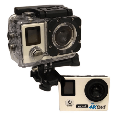 ANDOWL 4k Waterproof Sports Action Camera, Wifi, Ultra HD, 750 mAh, Super Wide Angle +Accessories QY-70K WHITE