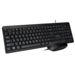 POWERTECH Wired Keyboard And Optical Mouse Set, Greek/English, LED Indicators, Multimedia, With 1.4m Cable PT-678