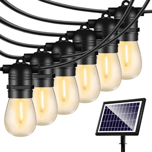 48FT Solar String Lights Outdoor - Shatterproof Vintage Edison Bulbs & 4 Light Mode Weatherproof Strand -LED String Lights Solar Patio Lights for Backyard Patio Porch Café B08B136F8J