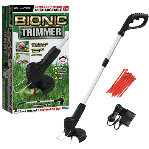 Bell+Howell Bionic Trimmer Handheld 2521, Cordless Rechargeable Garden Grass and Weed String Cutter with Detachable Head for Portable use As Seen On TV