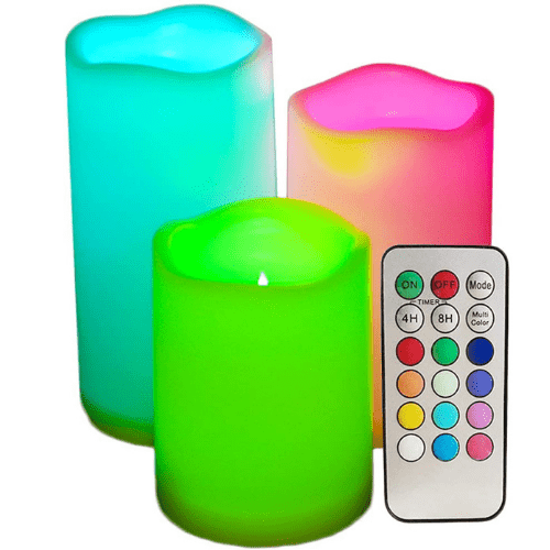 Set of 3 Color Changing Led Pillar Candles C-553014 with RemoteMulti Colored Flickering Outdoor Waterproof Flameless Candles Battery Operated