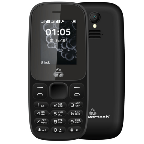 POWERTECH Mobile Phone Milly Small II, With Torch, Dual SIM, Camera, Expandable Memory, 1000mAh, Black PTM-27