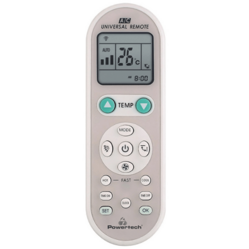POWERTECH Universal A/C Remote Control, Clock And Timer, Ergonomic Design, Compatible With Almost Every Brand, White PT-835