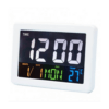 Digital Table Clock With Alarm Clock, Calendar And Temperatures, Colourful LED Screen, Voice Control, White GH-2000WJ