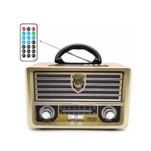 MEIER FM/AM/SW Radio With USB/TF Player, Remote Control, External Antenna, Bluetooth, M-113BT (Brown-Gold)