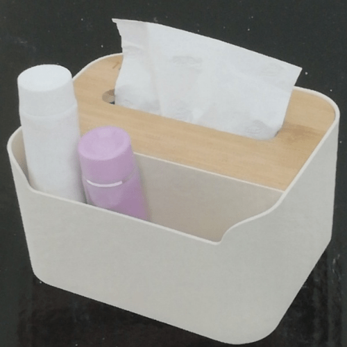 Plastic Tissue Box With Big Space Waterproof Bamboo Wooden Cover Holder 3164