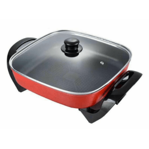 High Quality Electic Heating Pot ,Tempered glass lid, Non-Stick Pan, Easy to Wash, 4-5 Servings, Red/Black OR-2105
