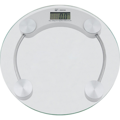 Electronic Round Glass Bathroom Scale With 4 Precision Sensors Transparent Color 180 Kg 2003A