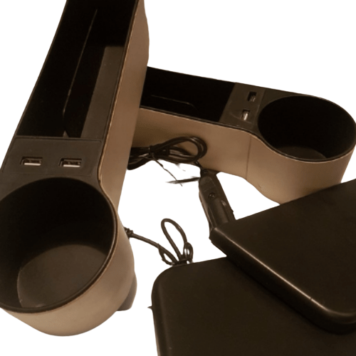 Car Organizing Case Βeige - Cup Holder, Coin Holder With 2 USB - Car Storage Box CSB-2