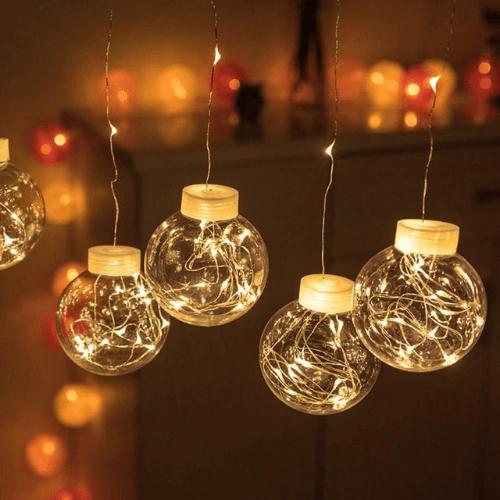 Christmas Curtain 3M 10 Hanging Balls 200 led with 10 transparent balls Warm Lighting GL-53901