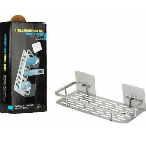 Corner Rack Magic Sticker Bathroom Shelf Metallic With 1 Shelf 32x14x10cm 81003ALM50SL-5091
