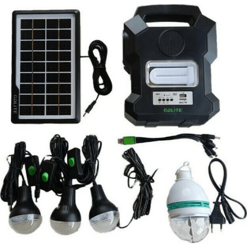 GDLITE SOLAR LIGHTING SYSTEM WITH PHOTOVOLTAIC PANEL LED LAMPS, RADIO, MP3 PLAYER, BLUETOOTH SMD Led High Quality GD-1000A