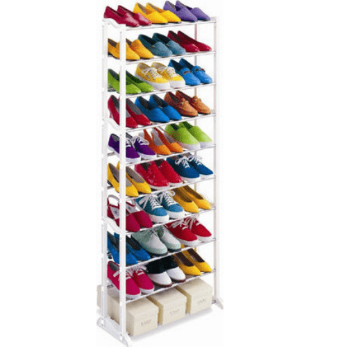 New Amazing Shoe Rack Portable With 10 Layer Foldable - 30 Pairs Shoe Rack Metal Collapsible Shoe Stand White 10 Shelves DIY Do-It-Yourself SPM BN1020
