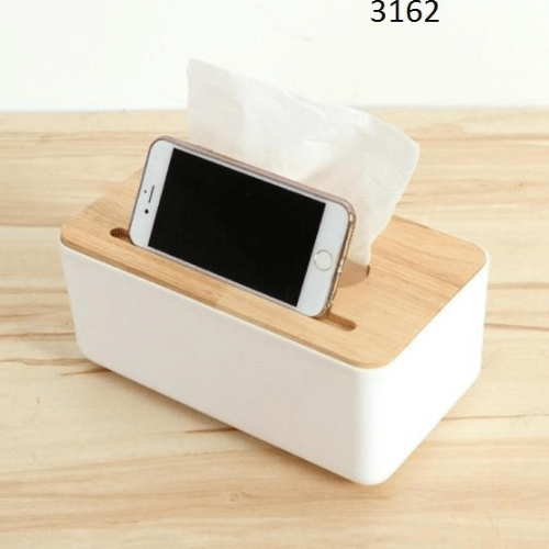 Plastic Tissue Box With Phone Space Waterproof Bamboo Wooden Cover Holder 3162