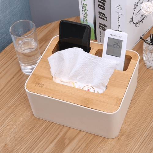 Plastic Tissue Box With 2 Storage Cases Waterproof Bamboo Wooden Ecru Cover 3164