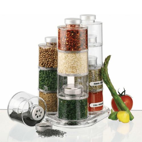 Transparent Spice Jars Rotating Tower - Spice Tower Carousel Jar 03007SPT00DF