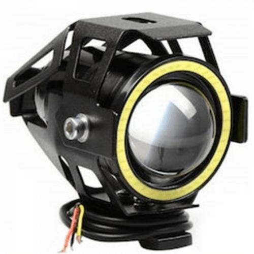 OEM Waterproof LED Motorcycle Projector Lens With White Hoop Light, 3 Operating Ladders, 1098Lumens, Black MRK2339874