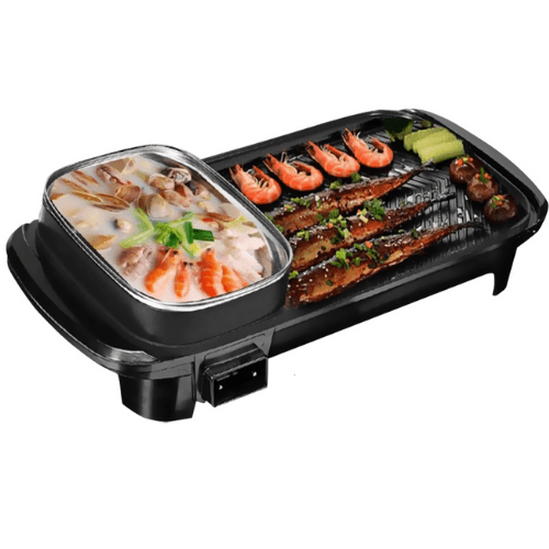Multi-Functional Rinse One Pot, With Tempered glass lid, Non-Stick Pan, Easy To Clean, High Power Heating, Black, YS-K1360A
