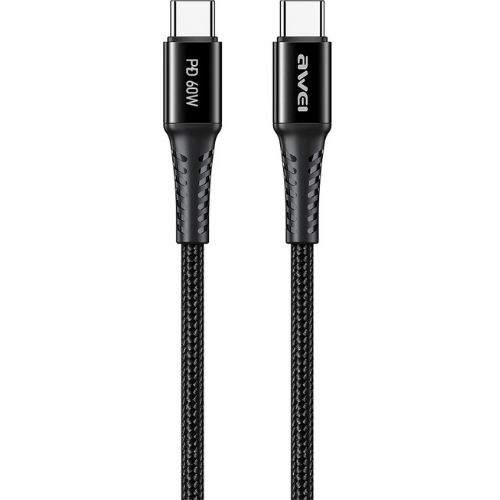AWEI Cable USB Type-C PD 60W 3A 1m Black CL-111T