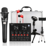 External Business Card V8 USB Connectivity Set Microphone Audio Recording System, Complete Set of 6 Pieces with Audio Mixer and Microphone Stand SP-MI-0990