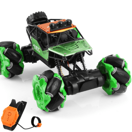 Speed Pioneer 1:16 Stunt Rc Car Gesture Sensing Twisting Vehicle Drift Car Climbing 4WD High-Speed Off-Road Truck, 2.4Ghz Green Car with 2 Rechargeable Batteries RSTR-116