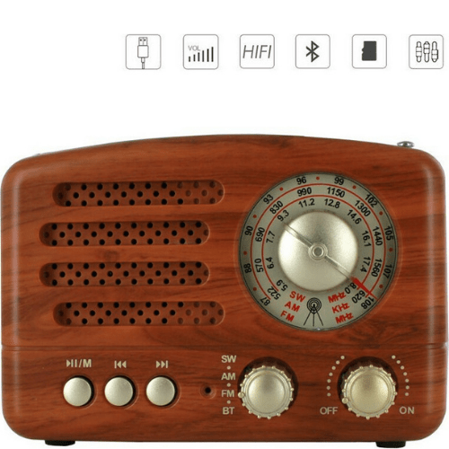 CMiK Retro Desktop Portable Radio Rechargeable With Bluetooth And USB Brown USB SD Mp3 Player Recorder MK-615BT
