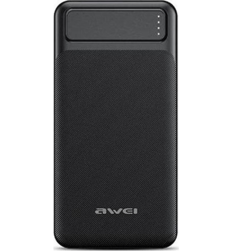 Awei 20000mAh USB Port Fast Charging Input Micro USB and Type C Quick Charge Black P6K