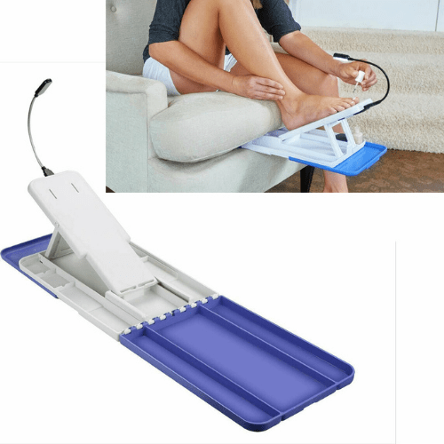 Folding Table Pedicure Stand With LED Lighting And Storage Stede Padi