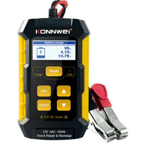 KONNWEI 12V 5A Full Automatic Car Battery Tester Pulse Repair Charger Wet Dry Lead Acid Auto Battery Repair Tool Agm Gel KW510
