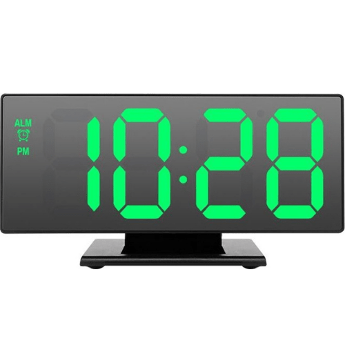 LED Mirror Table Clock In Black Color With Green Letters DS-3618L