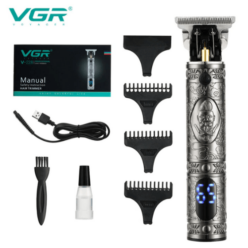 VGR Professional Rechargeable Hair Clipper And Trimmer With LED Silver V-228