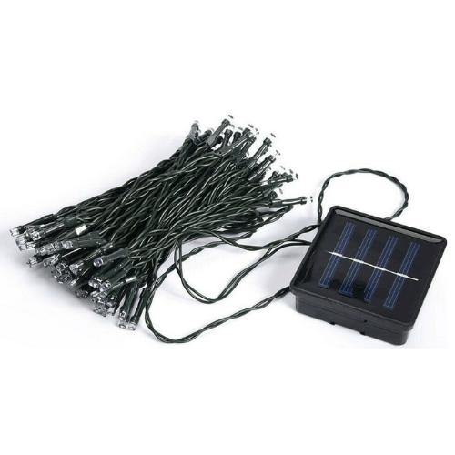 100 White LED Solar Bulbs, Green Cable, TS1745 MG50428
